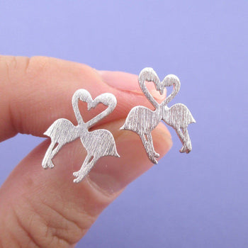 Kissing Flamingos Love Birds Silhouette Shaped Stud Earrings in Silver