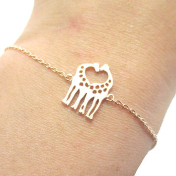 Kissing Giraffe Animal Shaped Silhouette Charm Bracelet in Rose Gold | DOTOLY | DOTOLY