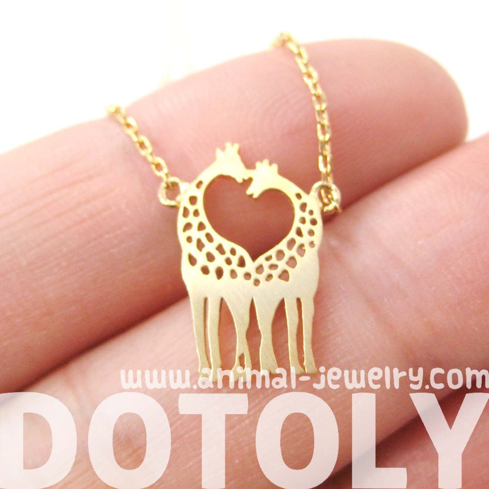Kissing Giraffe Animal Shaped Silhouette Pendant Necklace in Gold | DOTOLY | DOTOLY