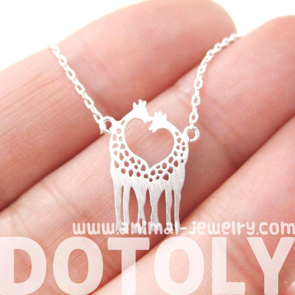 Kissing Giraffe Animal Shaped Silhouette Pendant Necklace in Silver | DOTOLY | DOTOLY