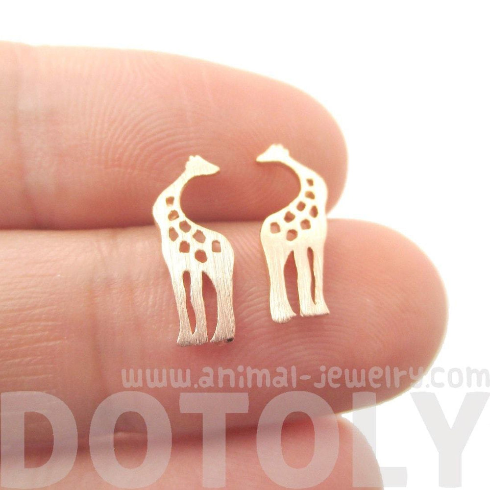 Kissing Giraffe Animal Shaped Silhouette Stud Earrings in Rose Gold | DOTOLY | DOTOLY