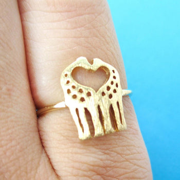 Kissing Giraffe Silhouette Shaped Animal Ring in Gold | US Size 6 Only | DOTOLY
