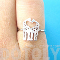 Kissing Giraffe Silhouette Shaped Animal Ring in Silver | US Size 6 Only | DOTOLY