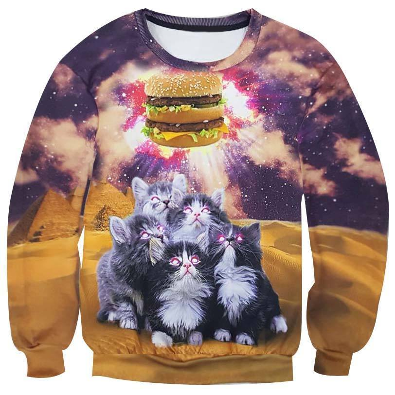 Kittens Hypnotized by a Burger All Over Digital Print Sweatshirt | DOTOLY