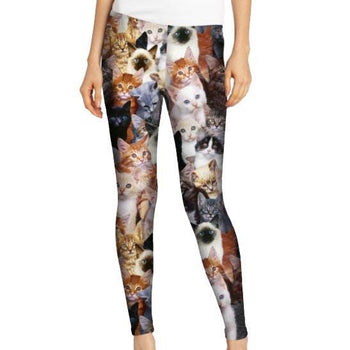 Kitty Cat All Over Collage Photo Print Legging Pants for Women | DOTOLY