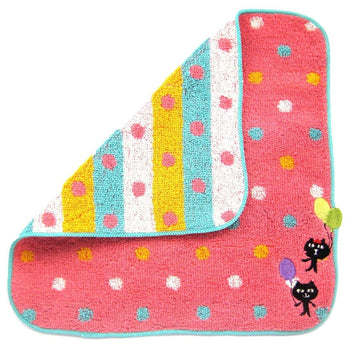 Kitty Cat and Balloons Embroidered Polka Dotted Handkerchief Face Towel in Dark Pink | Japan | DOTOLY