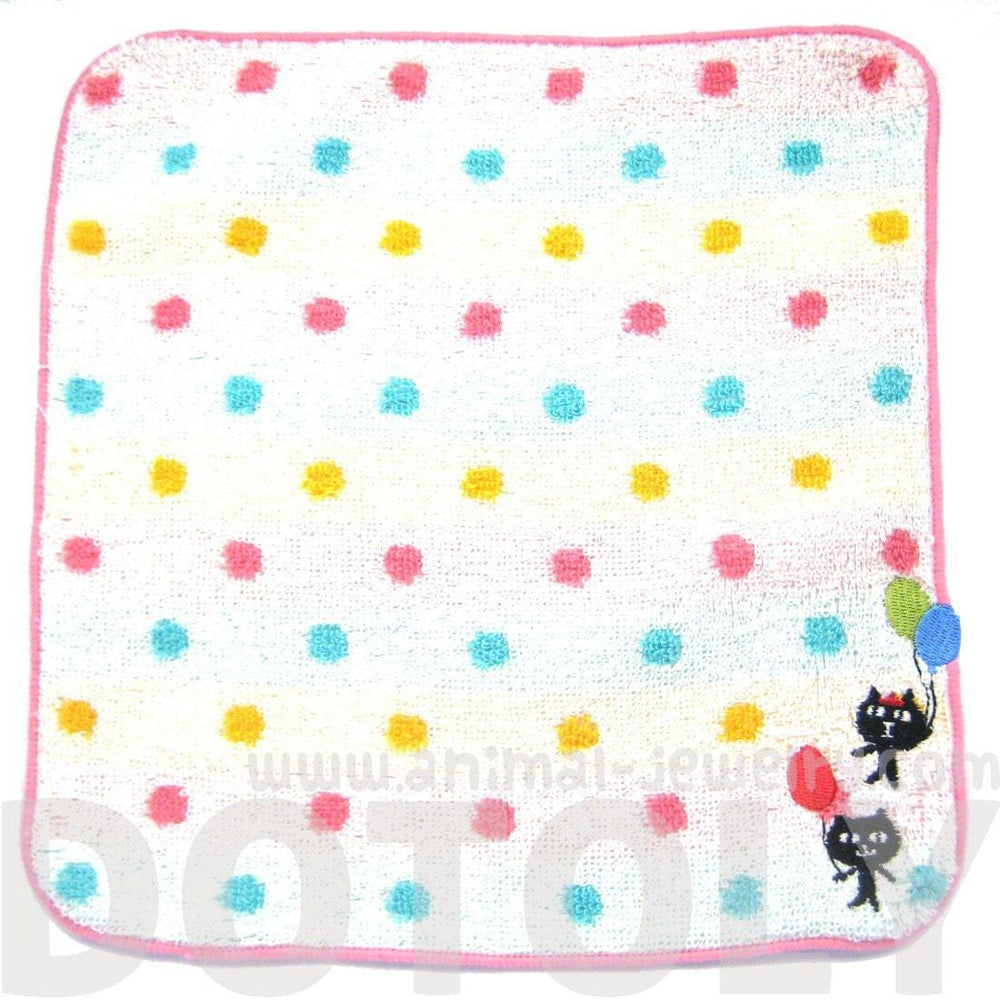 Kitty Cat and Balloons Embroidered Polka Dotted Handkerchief Face Towel in White | Japan | DOTOLY