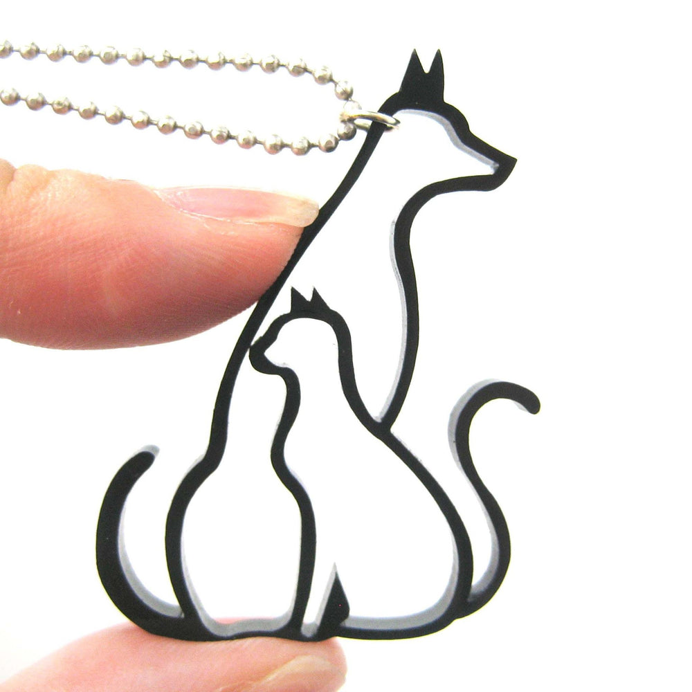 Kitty Cat and Dog Outline Shaped Animal Themed Pendant Necklace in Black Acrylic | DOTOLY