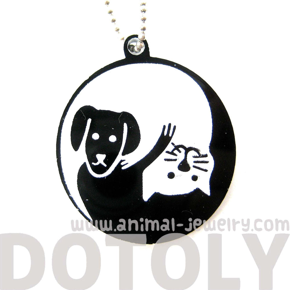 Kitty Cat and Dog Shaped Animal Themed Pendant Necklace in Black Acrylic | DOTOLY