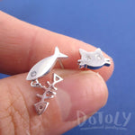 Kitty Cat and Fish Bone Shaped Stud Earrings in Silver | DOTOLY