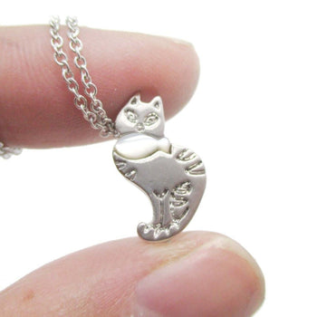 Kitty Cat and Fish Shaped Animal Themed Pendant Necklace in Silver | DOTOLY