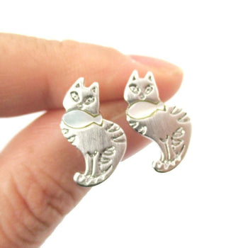 Kitty Cat and Fish Shaped Animal Themed Stud Earrings in Silver | DOTOLY