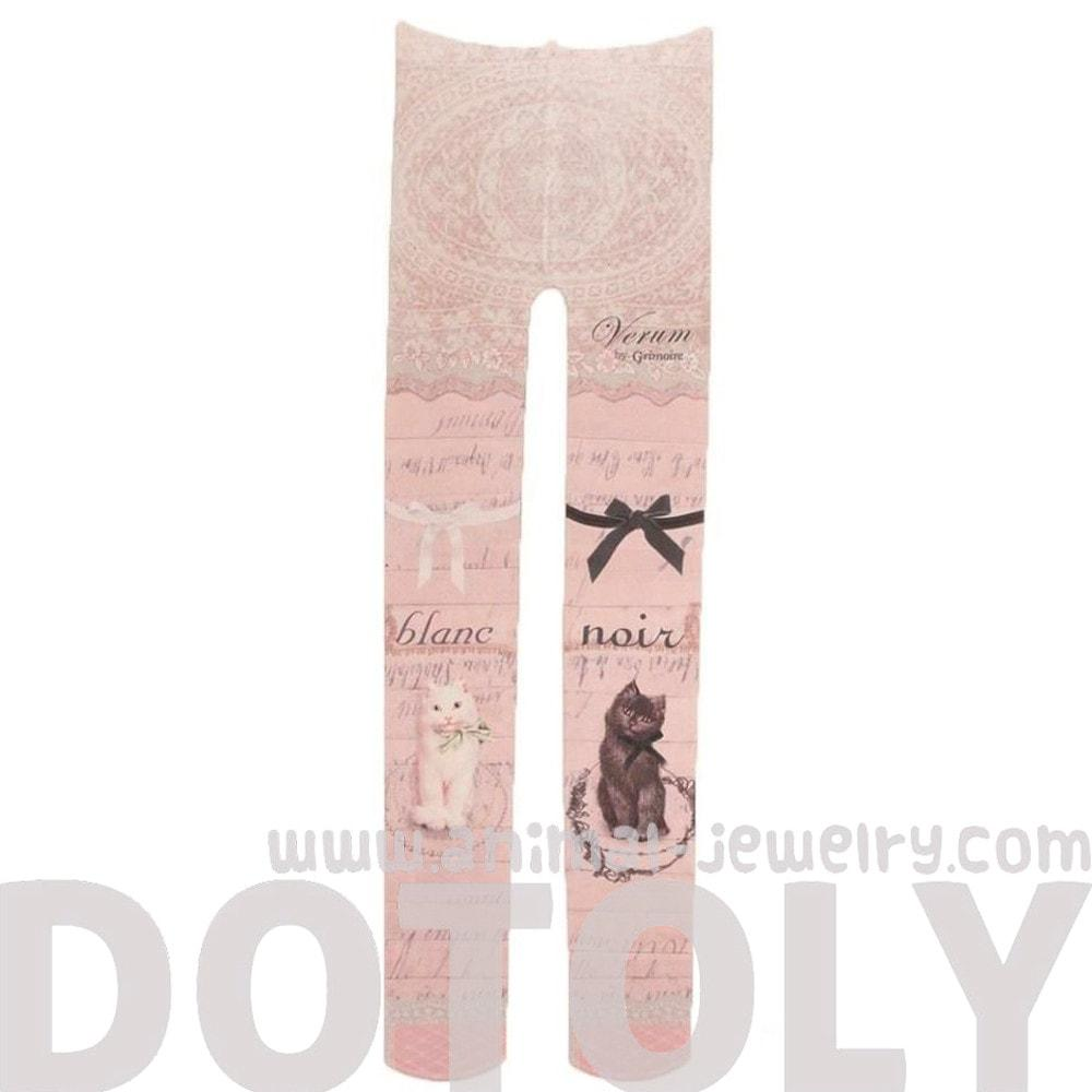 Kitty Cat and Lace Baroque Print Stocking Pantyhose Tights for Women in Pink | DOTOLY | DOTOLY