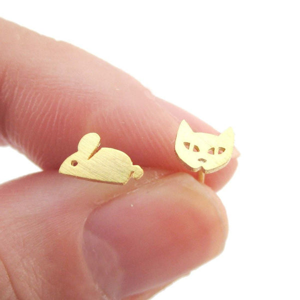 Kitty Cat and Mouse Shaped Allergy Free Stud Earrings in Gold | DOTOLY | DOTOLY