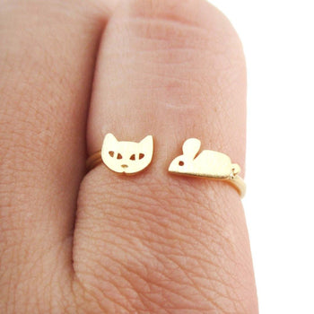 Kitty Cat and Mouse Shaped Open Adjustable Ring in Gold | DOTOLY | DOTOLY