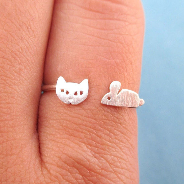 Kitty Cat and Mouse Shaped Open Adjustable Ring in Silver | DOTOLY | DOTOLY