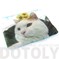 Kitty Cat and Sunflowers Digital Photo Print Animal Coin Purse Make Up Bag | DOTOLY