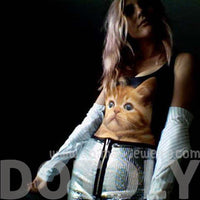 Kitty Cat Animal Digital Print Scoop Neck Sleeveless Bodysuit for Women in Black and White | DOTOLY