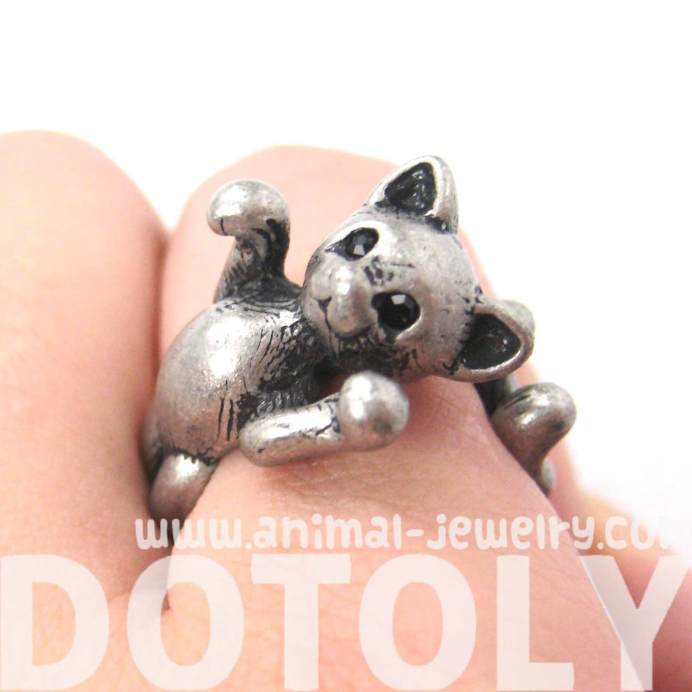 3D Kitty Cat Two Tailed Animal Wrap Around Ring in Silver - Sizes 5 to 9 Available | DOTOLY