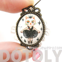 Kitty Cat Ballerina Tutu Illustrated Dangle Earrings with Lace and Ribbon Details | Animal Jewelry | DOTOLY
