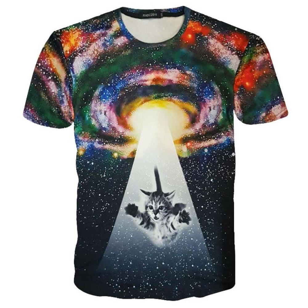 Kitty Cat Beamed into Space Universe Galaxy UFO Print Graphic Print T-Shirt | DOTOLY