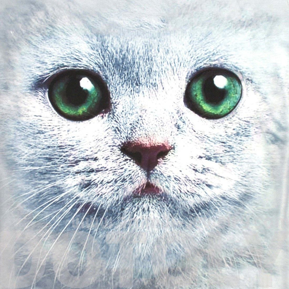 Kitty Cat Big Face Green Eyes Animal Print Graphic Tee T-Shirt in Grey for Women | DOTOLY