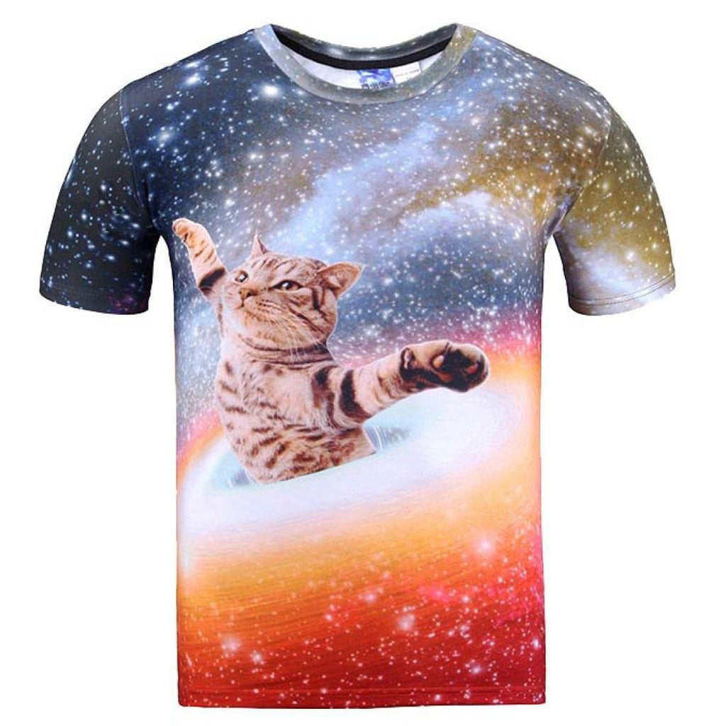 Kitty Cat Chilling In Space Universe Galaxy Print Graphic Print Tee