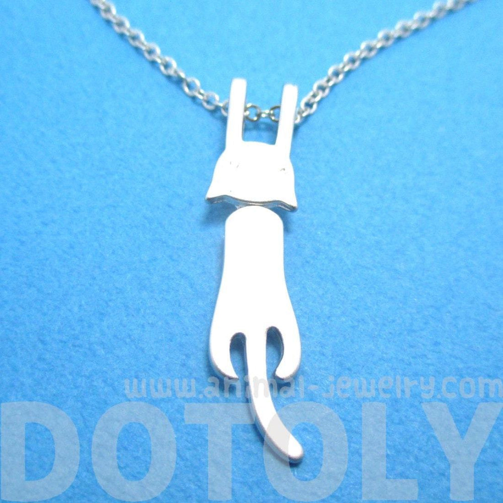 Kitty Cat Dangling Off Chain Pendant Necklace in Silver | Animal Jewelry | DOTOLY