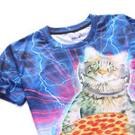 Kitty Cat DJaying a Pizza against a Lightning Background Graphic Print T-Shirt | DOTOLY