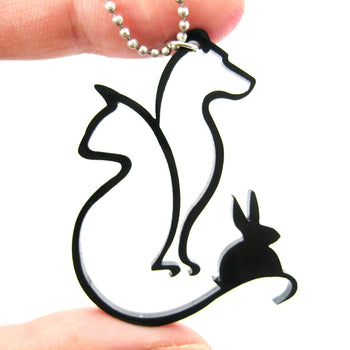 Kitty Cat, Dog and Bunny Outline Shaped Pet Animal Themed Necklace in Black Acrylic | DOTOLY