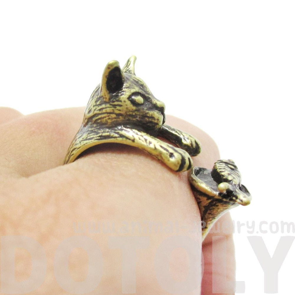 Kitty Cat Eating Fish Shaped Animal Wrap Ring in Brass | US Sizes 7 to 9 | DOTOLY