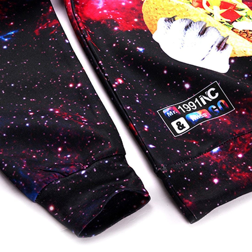 Kitty Cat Eating Tacos and Pizza in Space Universe All Over Print Sweater | DOTOLY