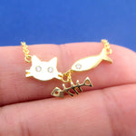 Kitty Cat Face and Fish Bone Charm Necklace in Gold or Silver | DOTOLY