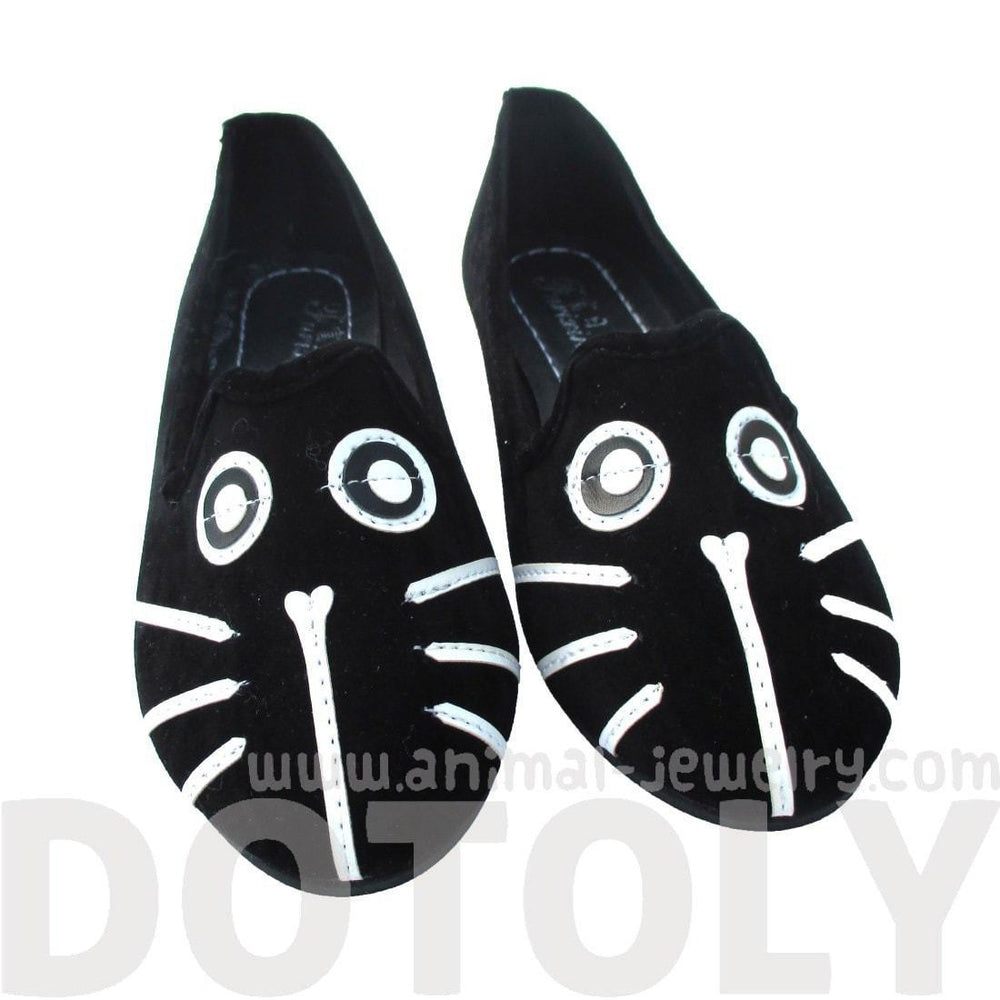 Kitty Cat Face Animal Themed Embroidered Ballet Flats for Women in Black | DOTOLY
