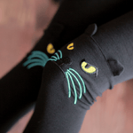 Kitty Cat Face Embroidered Knee Detail Animal Themed Leggings in Black | DOTOLY
