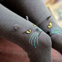 Kitty Cat Face Embroidered Knee Detail Animal Themed Leggings in Dark Grey | DOTOLY