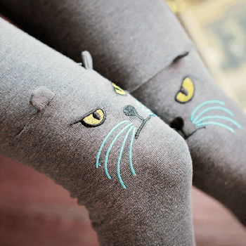 Kitty Cat Face Embroidered Knee Detail Animal Themed Leggings in Light Grey | DOTOLY