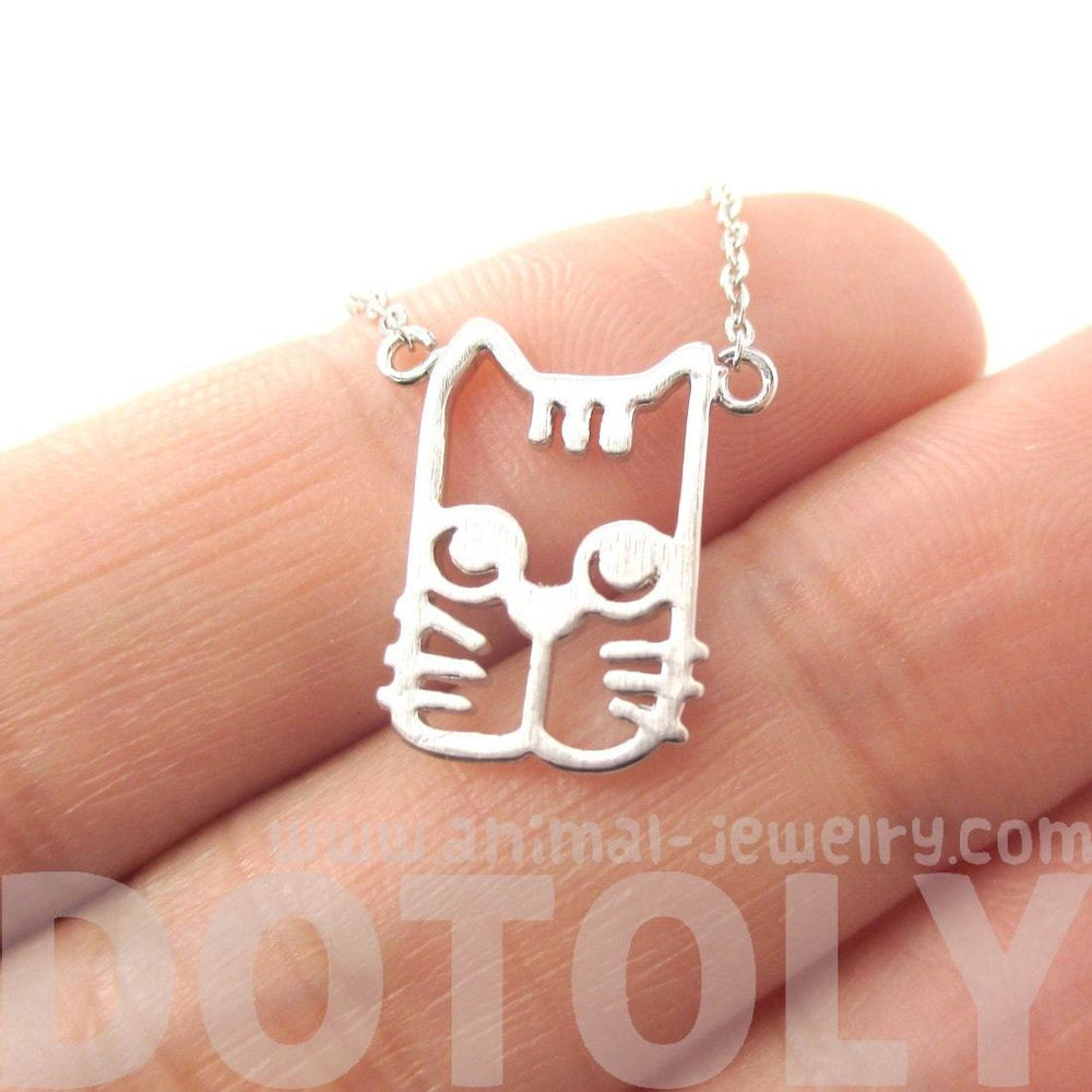 Kitty Cat Face Shaped Cut Out Pendant Necklace in Silver | Animal Jewelry | DOTOLY