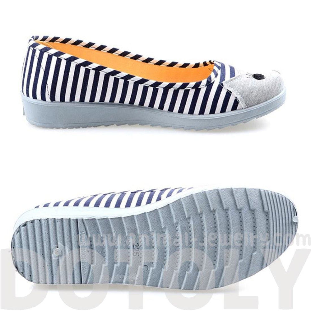 Kitty Cat Face Striped Print Animal Themed Wedge Ballet Flats for Women in Navy Blue | DOTOLY