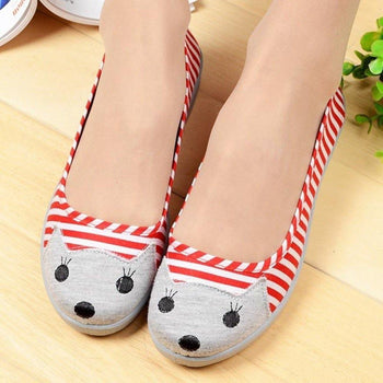 Kitty Cat Face Striped Print Animal Themed Wedge Ballet Flats for Women in Red and White | DOTOLY