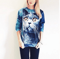 Kitty Cat Face Universe Space Graphic Print Pullover Sweater in Blue | Gifts for Cat Lovers | DOTOLY
