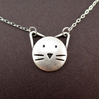 Kitty Cat Face with Pointy Ears Shaped Pendant Necklace | Animal Jewelry | DOTOLY