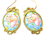 Kitty Cat Fairy Princess Illustrated Dangle Earrings | Animal Jewelry | DOTOLY