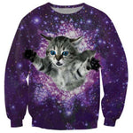 Kitty Cat Floating in Space Universe Graphic Print Pullover Sweatshirt in Purple | DOTOLY | DOTOLY