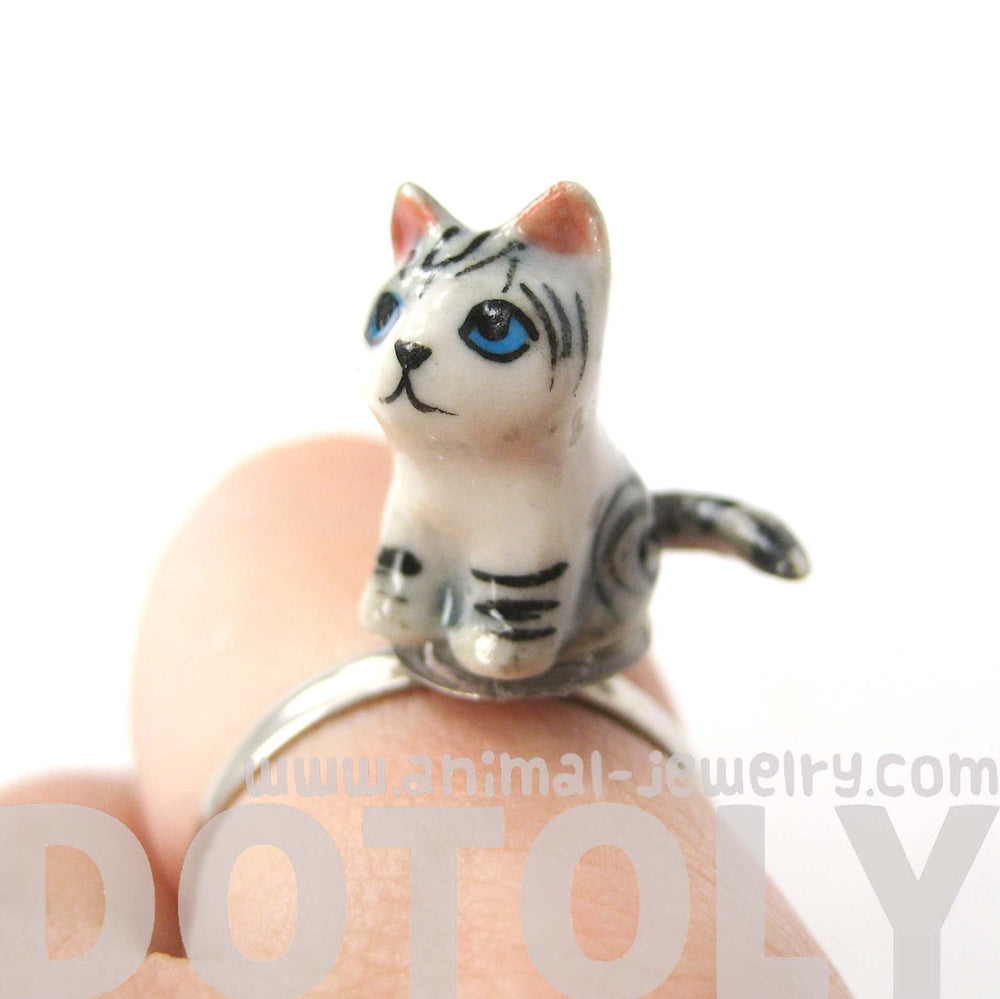 Kitty Cat Grey and Black Striped Porcelain Ceramic Animal Adjustable Ring | Handmade | DOTOLY