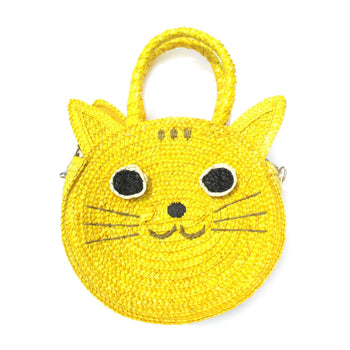 Kitty Cat Head Face Shaped Straw Woven Cross Body Shoulder Bag for Women in Yellow | DOTOLY