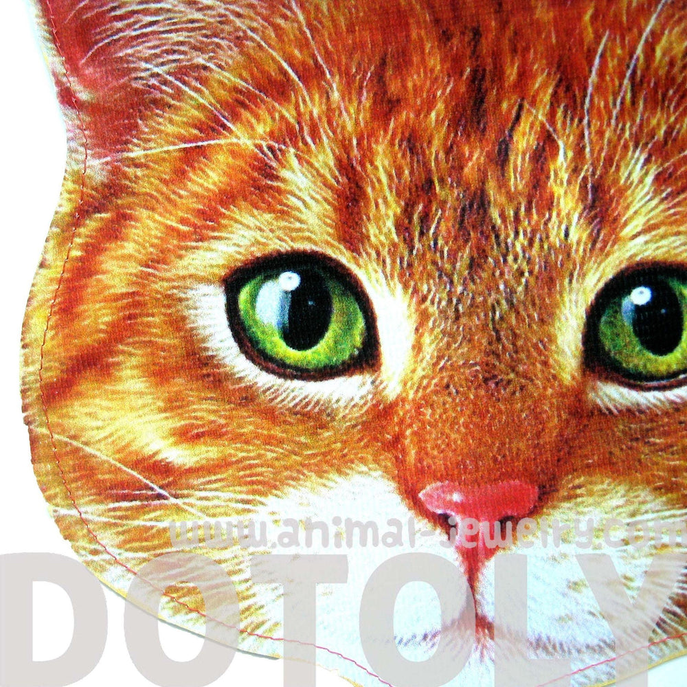 Kitty Cat Head Shaped Tabby Vinyl Animal Themed Clutch Bag in Orange | DOTOLY | DOTOLY
