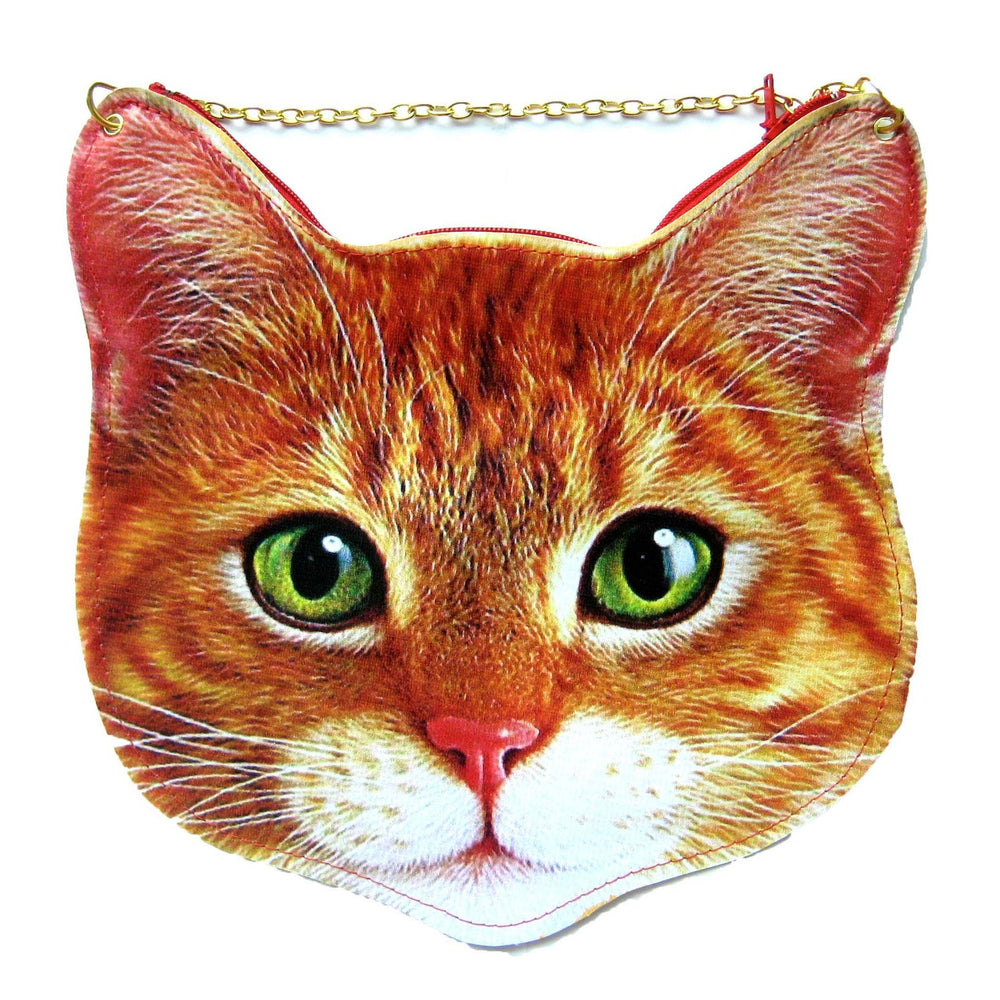 Kitty Cat Head Shaped Tabby Vinyl Animal Themed Cross Shoulder Bag in Orange | DOTOLY | DOTOLY