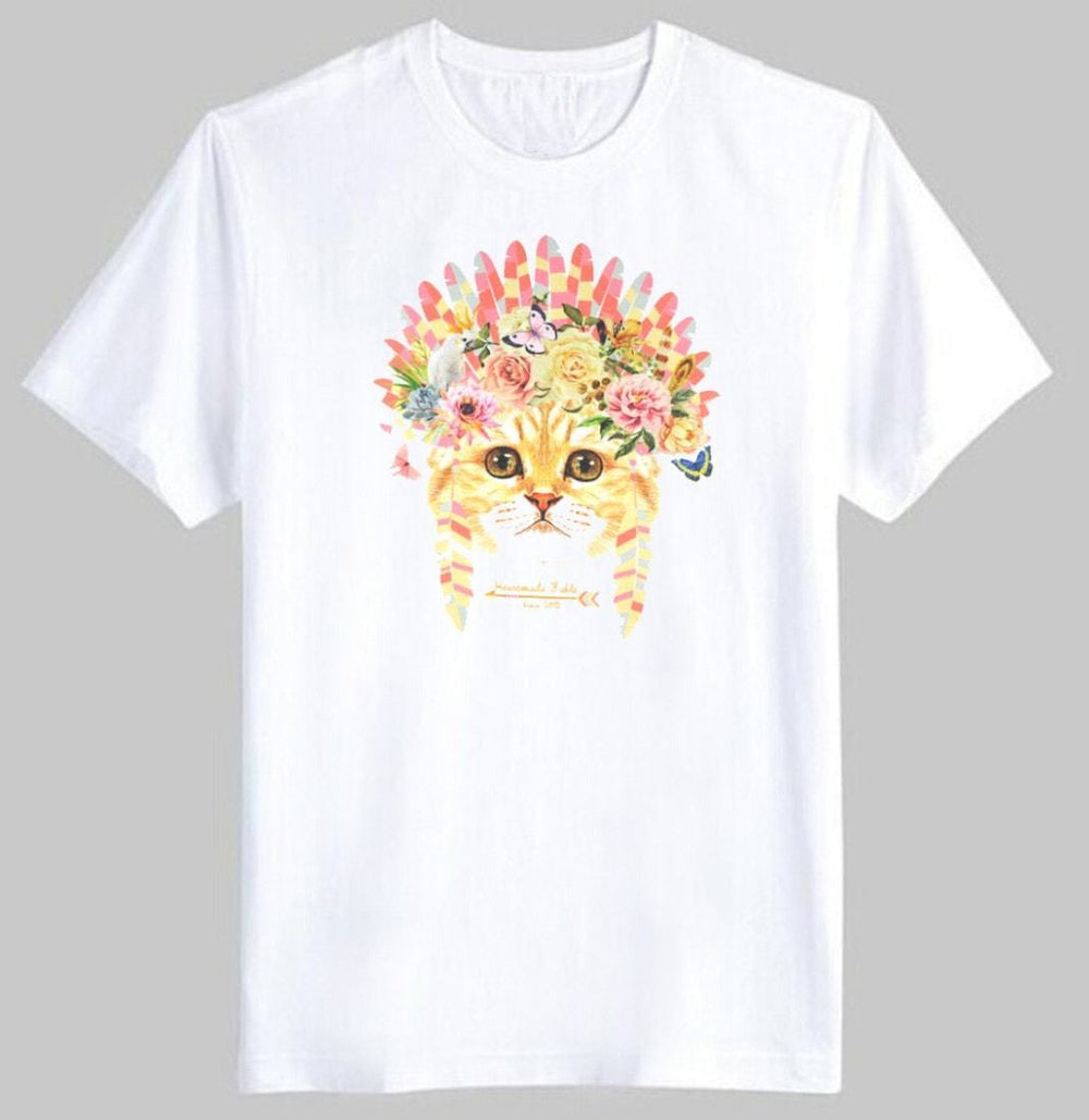 Kitty Cat in a Floral Feather Headdress Graphic Print Tee T-Shirt for Women | DOTOLY