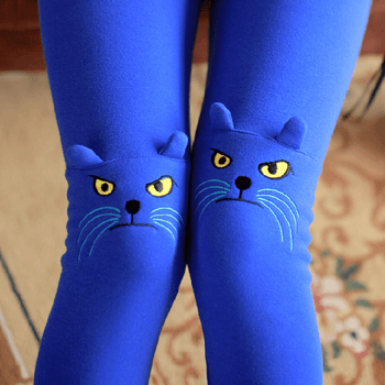 Kitty Cat Knee Embroidered Detail Animal Themed Leggings in Cobalt Blue | DOTOLY